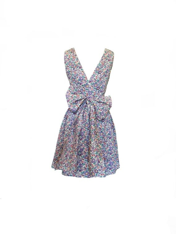 The Liberty Print Purple Floral Backless 50s style Bow Sash Dress Size XXS
