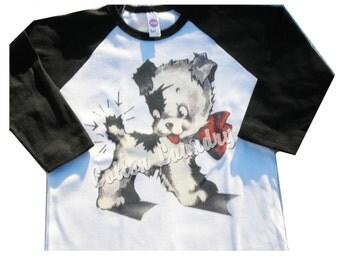 Doggie Tee shirt raglan .Adorable Kewpie dog/Vintage inspired Puppy...ORIGINAL VERSION