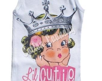 tee shirt Childrens Vintage inspired Childrens tshirt one piece... Lil Cutie.