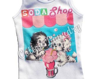 Soda Shop  tank tee shirt one piece body suit tshirt Vintage inspired childrens tshirt Soda Shop