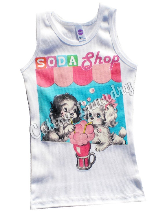 Soda Shop  tank tee shirt one piece body suit tshirt Vintage inspired childrens tshirt Soda Shop