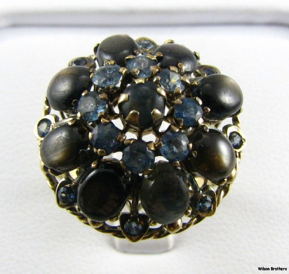 Vintage 14k Gold 5.12ctw Genuine Black Star Sapphires & 1.14ctw Blue Sapphires Cocktail Ring
