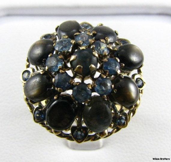 Vintage 14k Gold 5.12ctw Genuine Black Star Sapphires & 1.14ctw Blue Sapphires Cocktail Ring