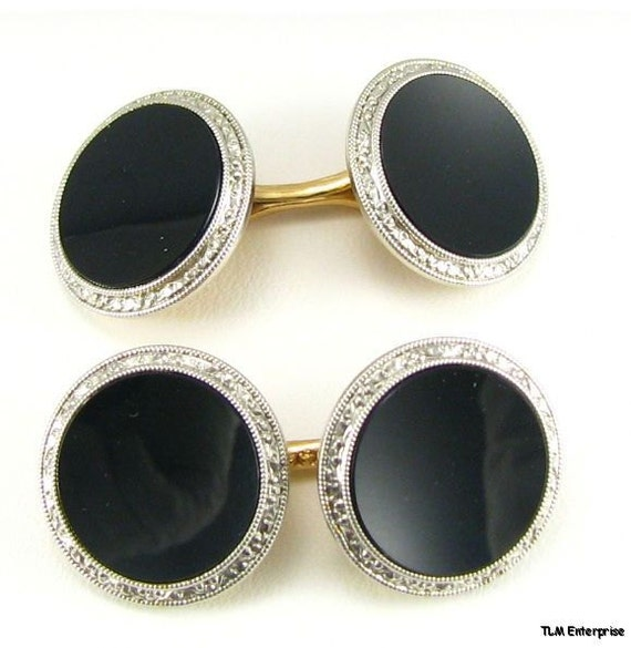 14k White and Yellow Gold Edwardian Onyx Cuff Links c. 1920s
