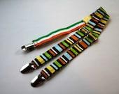 Brown striped adjustable suspenders