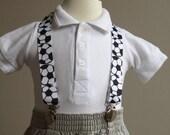 Soccer ball print adjustable ribbon suspenders