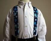 Star and Dreidel Print Hanukkah Suspenders