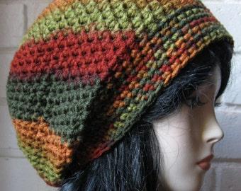 Red Orange Green Fall Hand Croche Hat Rasta Beanie Slouchy Hippie