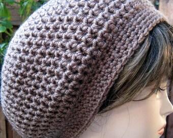 TAUPE Brown  - Hand Croche  Beanie Slouchy