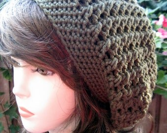 Green color - Hand Croche  Beanie Slouchy