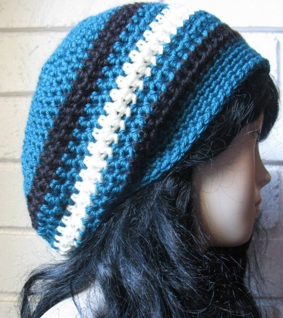 Teal color - Hand Croche  Beanie Slouchy