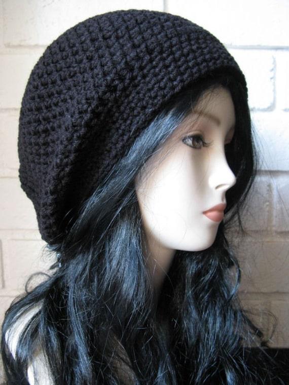 Black- Hand Crochet  Beanie Slouchy tam  perfect black winter