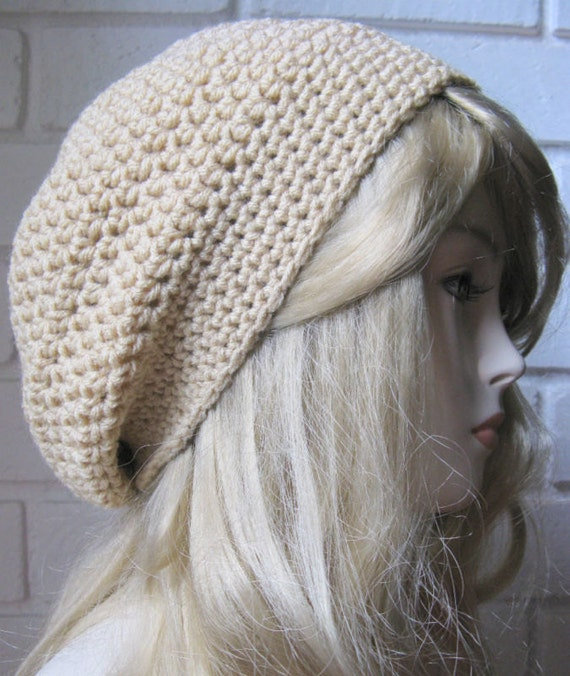 White Ceam buff Tam Hat Slouchy Rasta Hippie Hand crochet