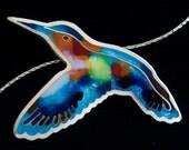 Hummingbird Necklace - cloisonne enamel pendant necklace