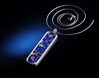 COSMOS Pendant - cloisonne enamel elongated pendant