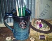 8 oz Mug - Black, Aqua and Blue with Spiral Pendant