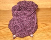 Little Drawstring Purse - Dark Purple with Glass Bead Accents