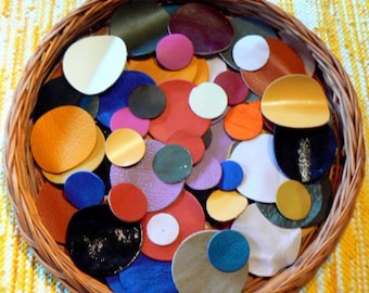 Leather Circles(25 pieces).Genuine Leather.For Flowers,Accessories,Jewelry,Decorations,Bags...