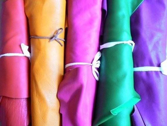 5 Pcs (6''x 10''/piece)/Genuine Leather.Red, Yellow ,Pink,Green,Navy Blue.Mixture