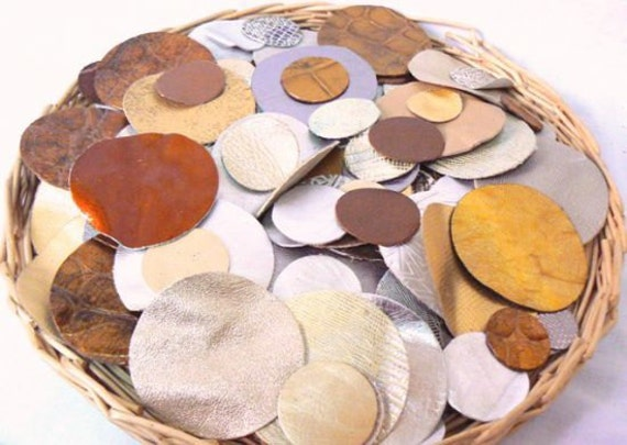 50 PIECES-Leather Circles/Genuine Leather.For Flowers,Jewelry,Handbags,Accessories,Decorations