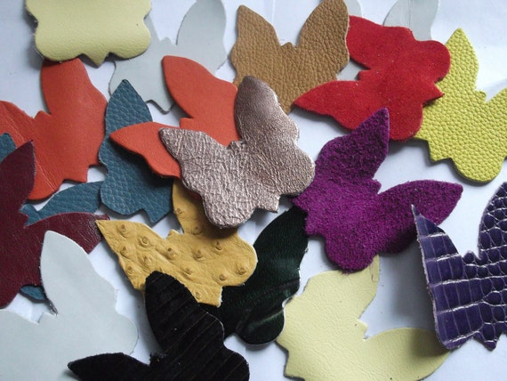 Leather Butterflies( 25 pieces )Genuine Leather/Applique/For Accessories,Decorations,Jewelry,Bags... Mixture or a single colors
