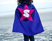 Kids Cape - Dark Purple with Pink Star