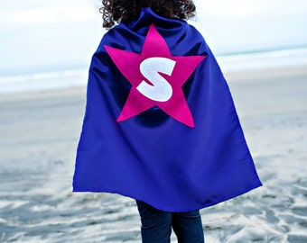 Kids Cape - Dark Purple with Pink Star