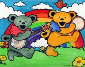 Grateful Dead Bears and a Rainbow - Deadhead Psychodelic Art Hippie Home Decor - print of original painting