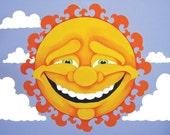 Sunshine - print of orginal painting - happy home decor - tribal sun - bright home decor art