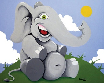 Happy Baby Elephant - Nursery Decor - Childs Room Decor - Playroom Decor - Art for Child print of original painting