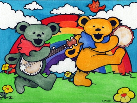 Grateful Dead Bears and a Rainbow - Deadhead Psychodelic Art Hippie Home Decor - print of original painting