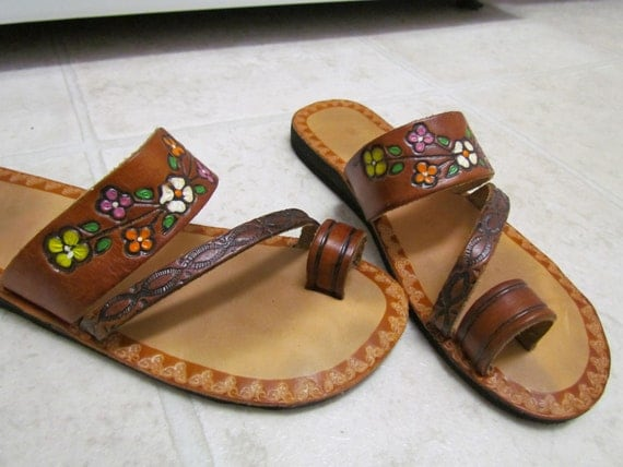 Vintage Spanish Hand Tooled Painted Leather Hippie Sandals 7