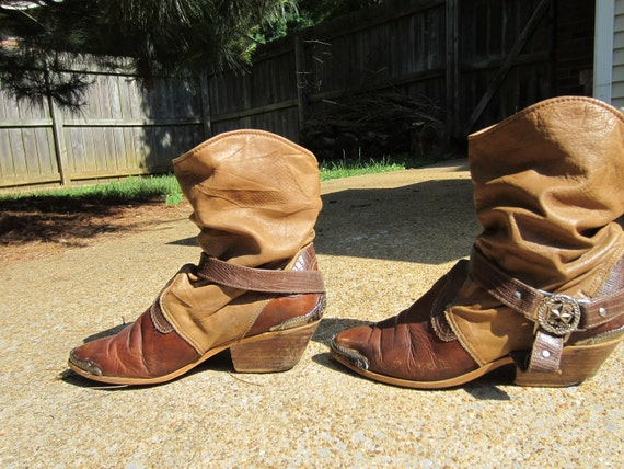 Stirrup Spanish Cowgirl Vintage Slouchy Ankle Boots 6.5 7
