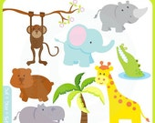 Cute Baby Safari Animals - jungle, mod animals, noahs ark, forest, lion, giraffe, rhino, hippo, crocodile - Personal and Commercial