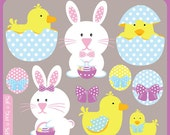Easter Bunny - easter rabbit, bunny, easter eggs, easter ducks, easter chicks, chicken - Personal and Commercial Use Clip Art