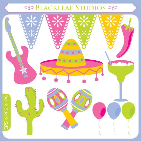 Tex Mex Fiesta Mexico Clipart Set Digital Download Images, Scrapbook, Graphics, Crafters - Personal and Commercial Use Clipart