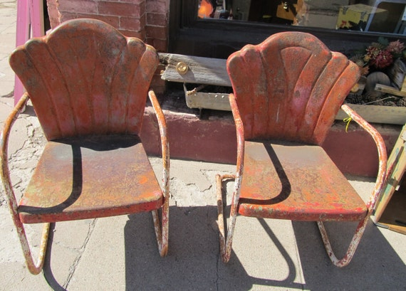 items similar to retro metal shell back lawn chairs on etsy