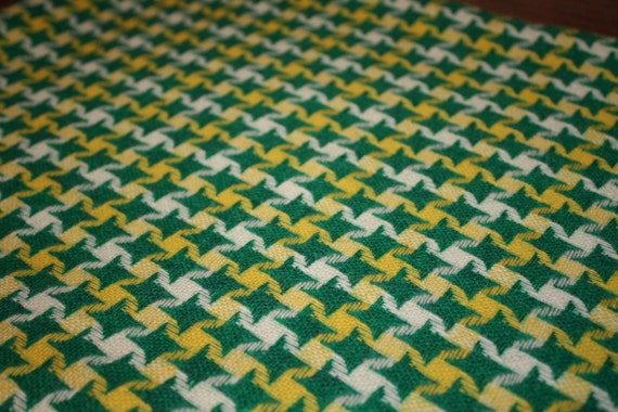 Vintage Green And Yellow Wool Houndstooth Fabric 1 Yard
