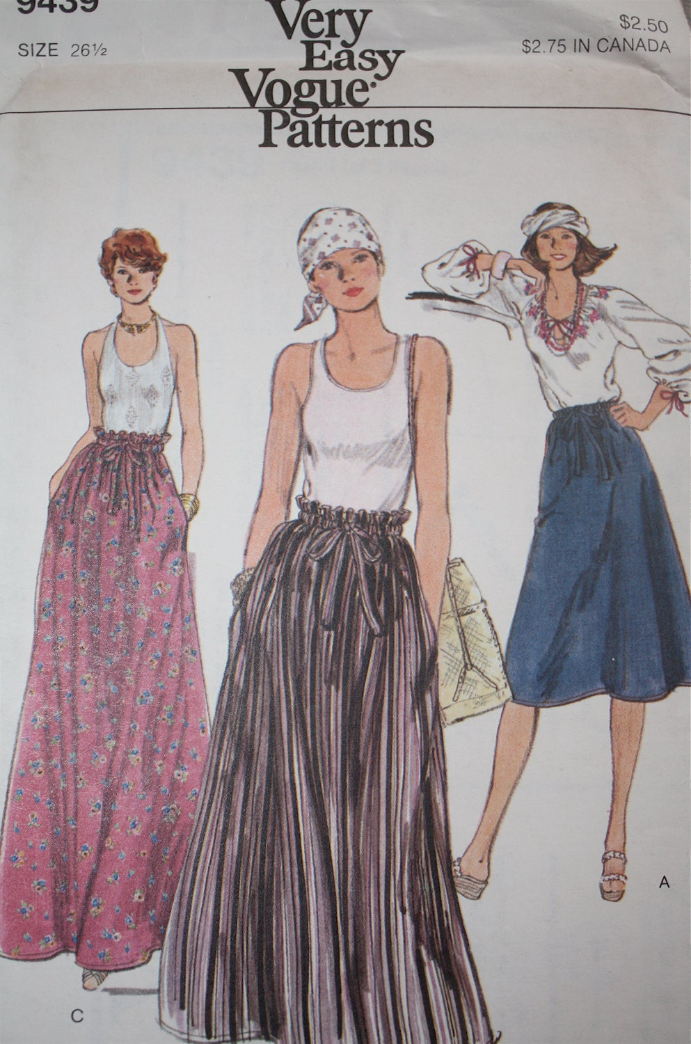 vintage vogue maxi skirt pattern 9439