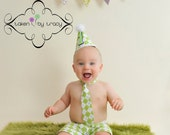 Baby Boy / Toddler Boxer Party Hat & Necktie Set lime and white argyle