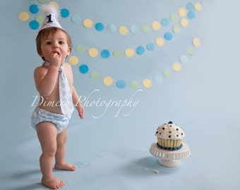Boys First Birthday Outfit Baby Boy / Toddler Party Hat,  Necktie & Diaper Cover Baby Blue and White Argyle Simple Trim