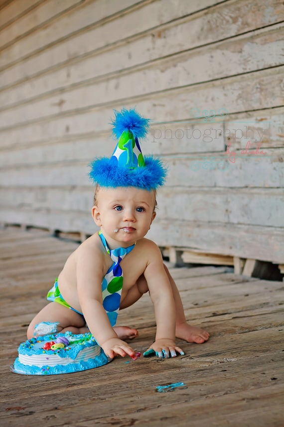 Baby boy / Toddler necktie diaper cover & party hat turqoise lime party set