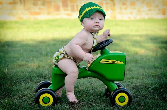 Newborn - 3 Month Diaper Cover & Necktie Outfit in John Deere Tan Plaid with Tractors Combines and Logos