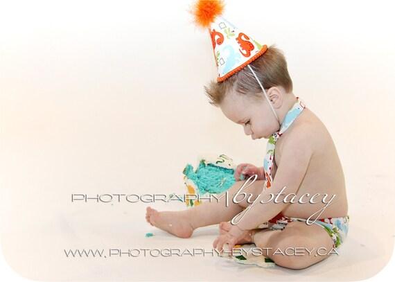 First Birthday Dinosaur Party Hat,  Necktie & Diaper Cover Orange and Green Dinosaur