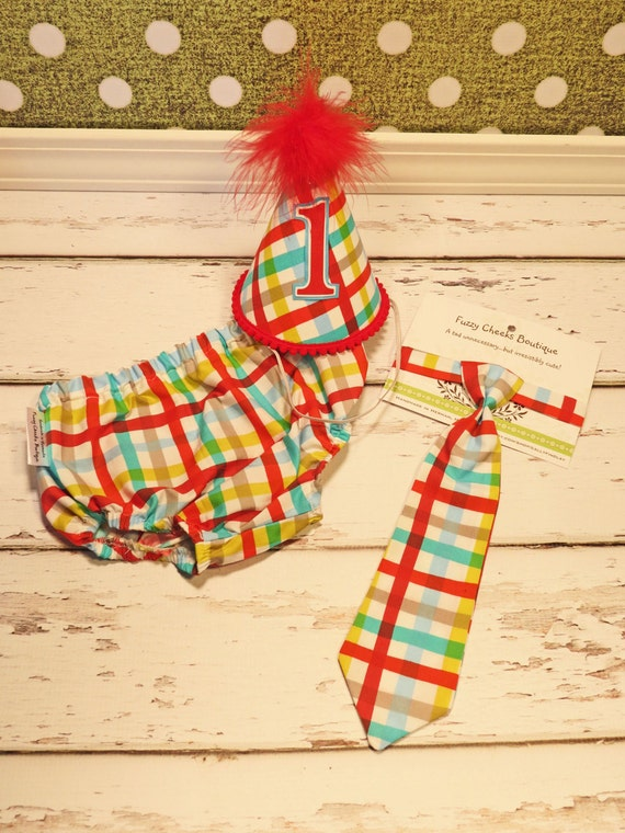 Baby / Boy Toddler Party Hat & Diaper Cover First Birthday Photo Cake Smash Outfit in Red Yellow Teal Plaid