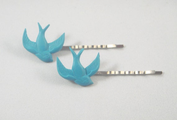 Set of 2 Blue Rockabilly Sparrows Hair Pins Accessories Barettes Swallow