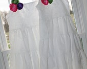 White 3 tiered ruffle Dress with flower pin- size 12m- 6t-