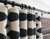 Custom Listing - Pair of Decorative Designer Custom Curtains Drapes  50 x 84  Black on  Beige Ikat  Fully Lined