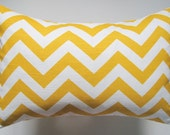 Designer Decorative Pillow Cover Chevron in Corn Yellow and White Lumbar 10 x 14 inch Removeable Cover Contemporary Modern