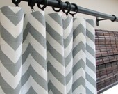 Pair of Decorative Designer Custom Curtains Drapes 50 x 63  Ash Gray and White Chevron Zig Zag Contemporary Modern